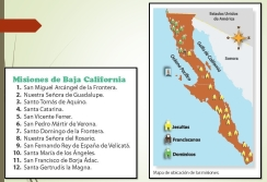 Mapa de las Misiones. Elaborado por José Antonio García Nieto; tomado de La entidad donde vivo, Baja California. Tercer grado, SEP, 2012.